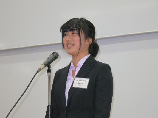 Yoshimura Serika membawakan pidato berjudul ''Takdirku'' (Foto Henri Daros)